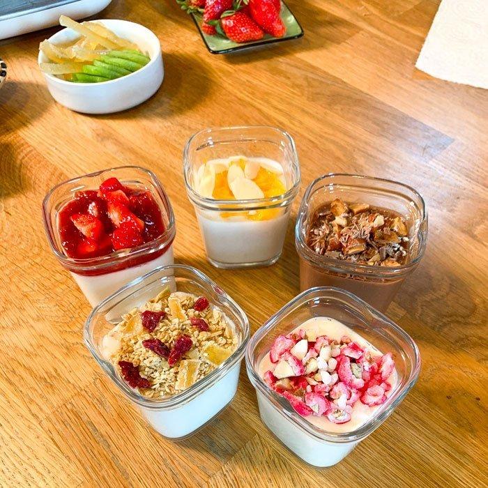 Yaourts végétaux lait de coco, soja, lait amande, riz, lait d'avoine, garnitures fruits muesli